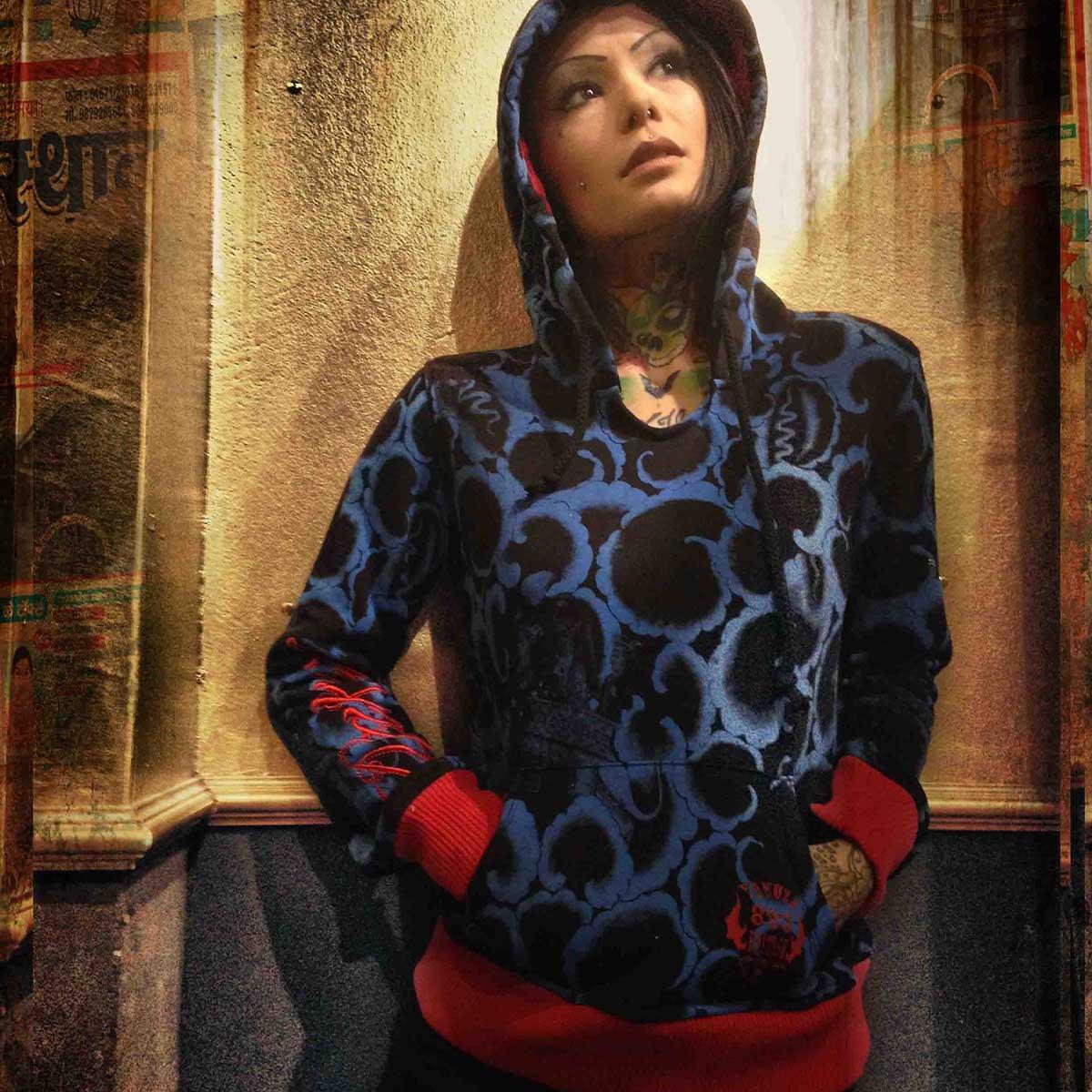 yakuza damen pullover hoodie ghb 323 schwarz kollektion. Black Bedroom Furniture Sets. Home Design Ideas